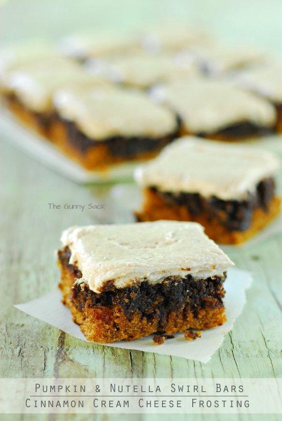 Pumpkin Nutella Swirl Bars with Cinnamon Cream Cheese Frosting @Toni Aladekomo {The Gunny Sack} #pumpkindessert #recipe