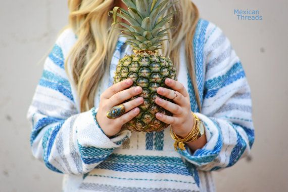 Mexican Threads Baja Drug Rug Hoodie Pullover Sweatshirt | Baja Jacket Poncho Blue White Grey | Boho Gypsy