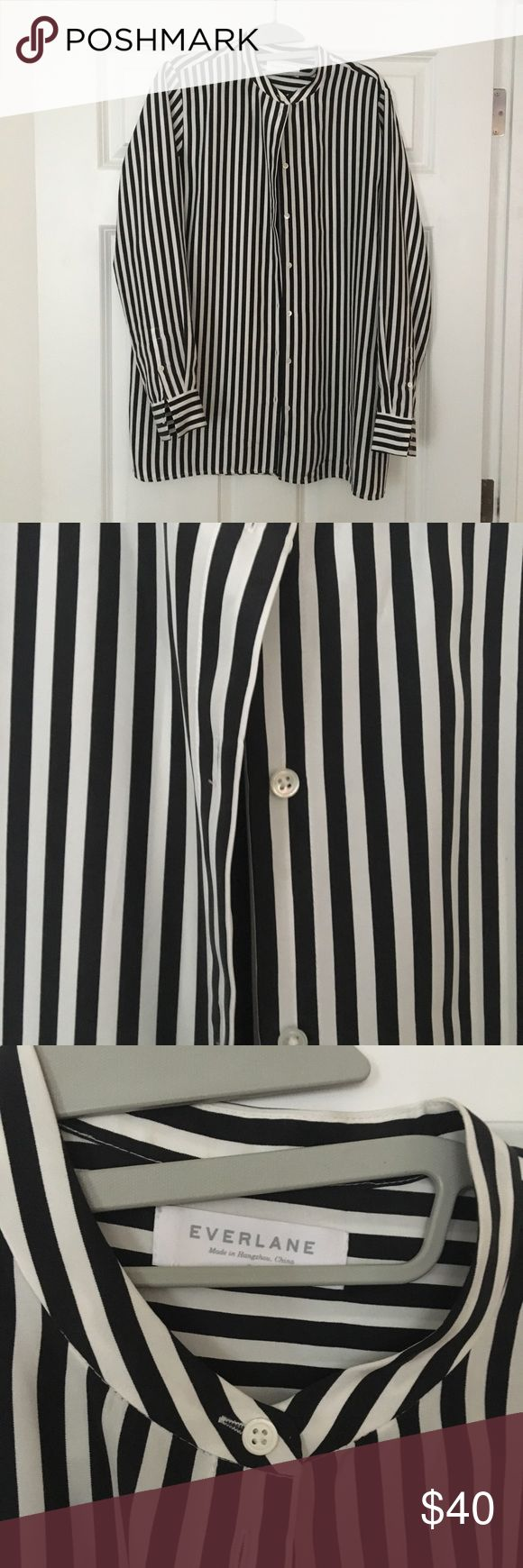The Relaxed Silk Collarless Shirt - Bold Stripe Great condition! Only worn a few times. Relaxed and refined. This shirt is designed without a traditional collar and made in crepe de chine silk with easy drape. Everlane Tops Button Down Shirts