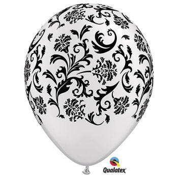 Damask White & Black Qualatex Balloons