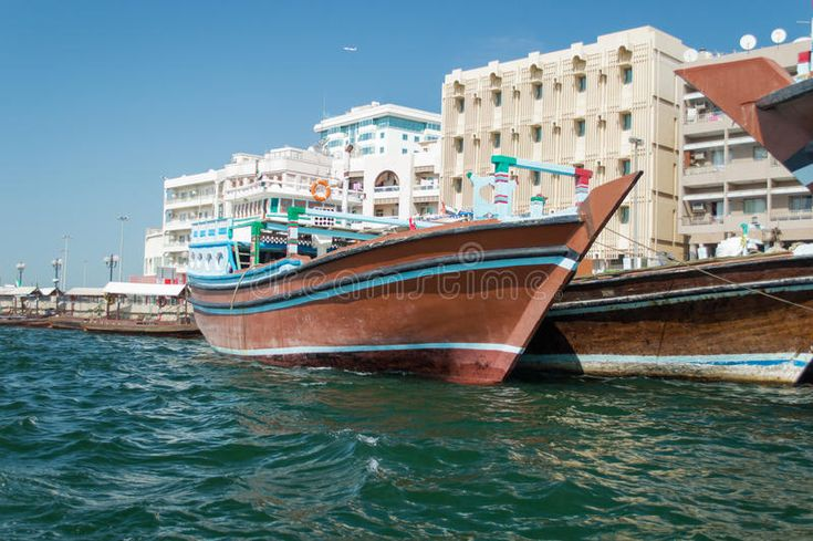 Boats on Dubai creek. Boats moored in Dubai creek. They are made with wood and u... - Dubai Picture | Dubai Informer