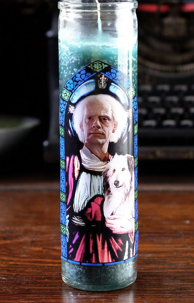 Saint Doc Brown Prayer Candle / Back to the Future / Christopher Lloyd by TheEternalFlame on Etsy https://www.etsy.com/listing/263451002/saint-doc-brown-prayer-candle-back-to