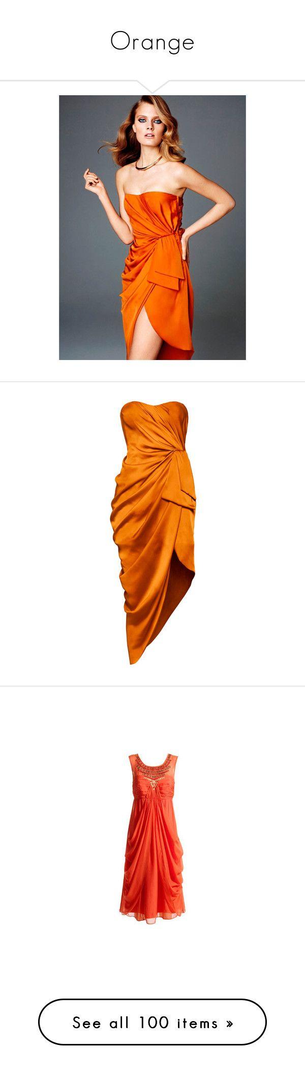 """Orange"" by sella103 ❤ liked on Polyvore featuring models, h&m, dresses, orange, vestidos, orange dress, lined dress, orange cocktail dress, drapey dress and satin dress"
