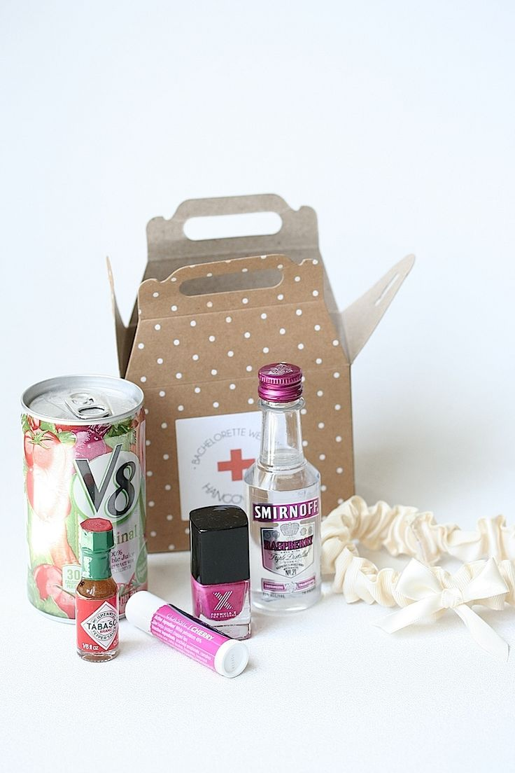 DIY Bachelorette Hangover Kits for your bridal party, with a custom ivory wedding garter-by the Garter Girl