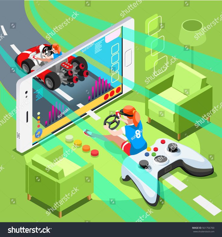 Pc Video game wallpaper screen and gamer person retro gaming online with console controller android phone or computer. 3D Isometric People icon set. Creative design vector illustration collection