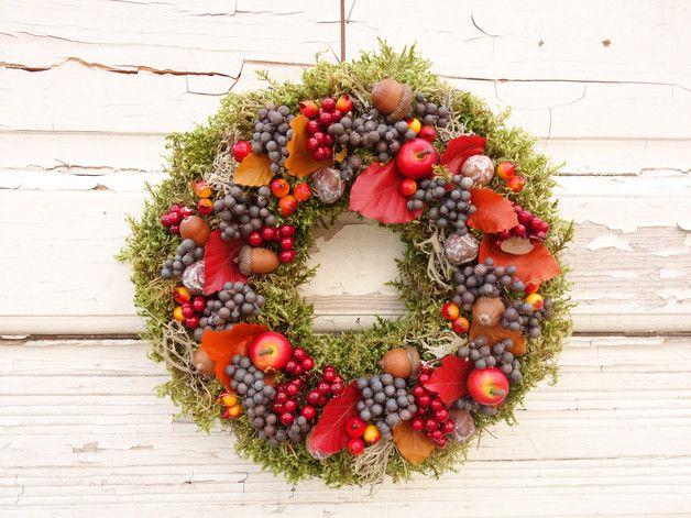 Moderner Türkranz als Deko für den Herbst, natürliche Deko / flower wreath for the autumn season made by Missbellflower via DaWanda.com