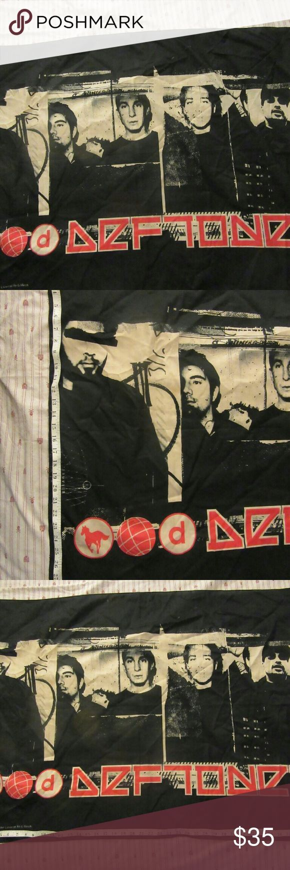 RARE Deftones Band cloth flag good shape : some flaws shown in pics  RARE Deftones Band Photo Chino Moreno Cloth Fabric Poster Flag Banner  has been used and was on a wall before so has holes on all corners deftones Accessories