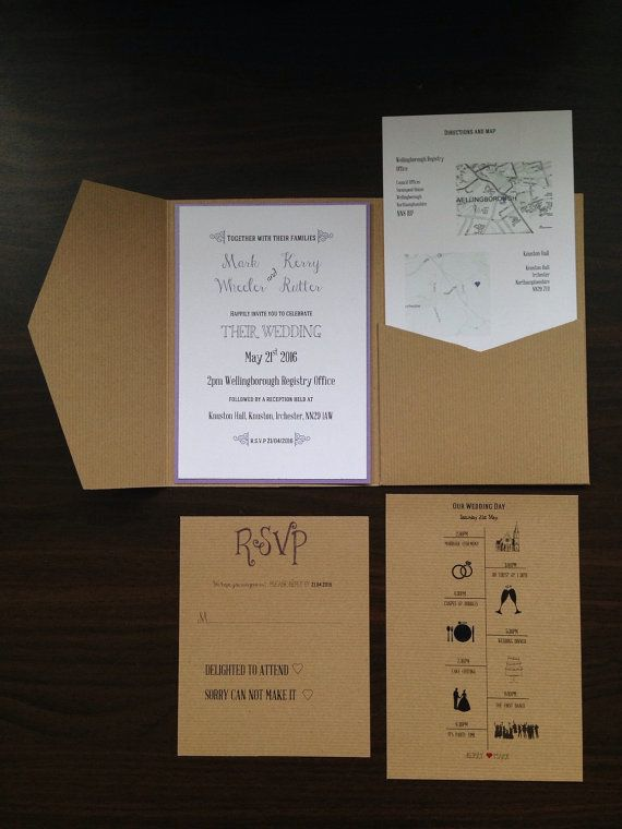 Kraft pocketfold wedding invitation. Large invitation mat, 2 large inserts for all the added extrs information and an rsvp card for your guests to reply. Perfect