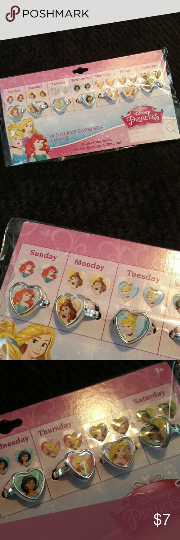 NEW DISNEY PRINCESS RING AND EARRING SET NEW. A ring for each day of the week. Includes 7 rings, and seven pair of stick on earrings. Rings are adjustable.  Silver. Disney Accessories Jewelry