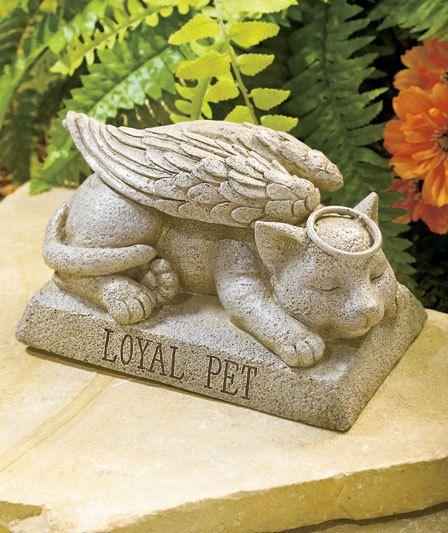 Angel Cat Memorial Garden Statue Sculpture Loyal Pet Outdoor Yard Decor