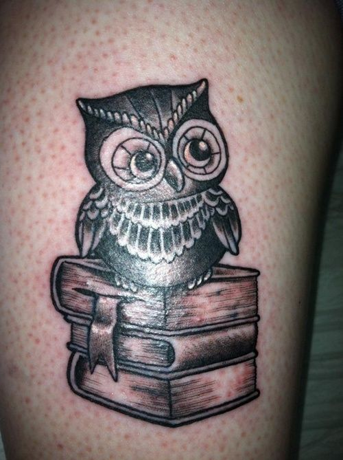 Owl tattoo, book tattoo - definitely want something like this for one of my next tattoos