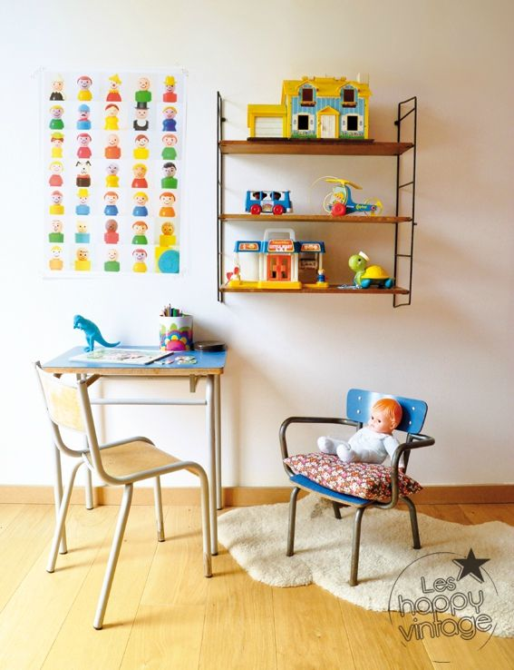 ---make a print like this with skylanders--- Vintage Fisher Price Toys room.