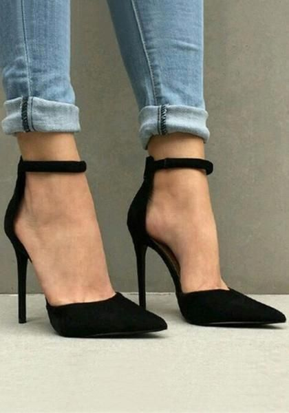 2014a4d40e9 Black Point Toe Stiletto Zipper Fashion High-Heeled Shoes ...