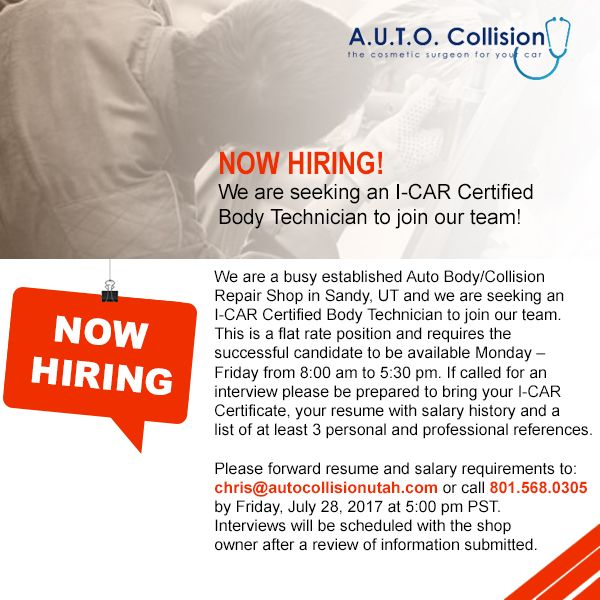 A.U.T.O Collision is hiring an I-CAR Certified Body Technician! If you've got what it takes to join Sandy Utah's premier auto collision repair shop, give us a call at 801.568.0305 by Fri., July 28th @ 5pm. PST. #certifiedcollisionrepair #nowhiring #sandyutah