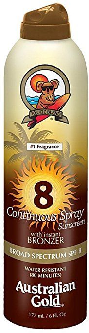 Australian Gold Continuous Spray Sunscreen with Instant Bronzer SPF 8 6 oz (Pack of 5) Review