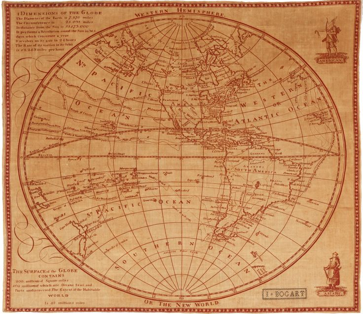 An attractive linen printing of an unrecorded map of the Western Hemisphere, likely dating to the end of the 18th century.  The map depicts the Western Hemisphere on a stereographic projection, centered on a point in the Pacific just south of Guadalajara, Mexico.   #cartographiccuriosity #curiosity #linenprinting #textile #westernhemisphere #raremap #cartography #history #antiquemaps