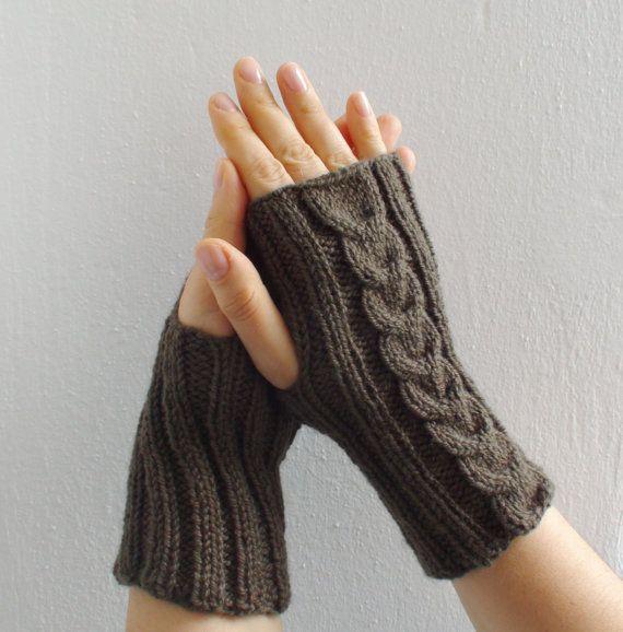 Green knitted gloves mittens fingerless gloves by HelenKurtidu, €20.00