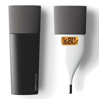 Omron, thermometer, plastic, matte, black, white