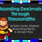 $ This set contains 12 task cards asking students to round numbers to the nearest hundredth, tenth, whole number, and tens place. An answer key and a...