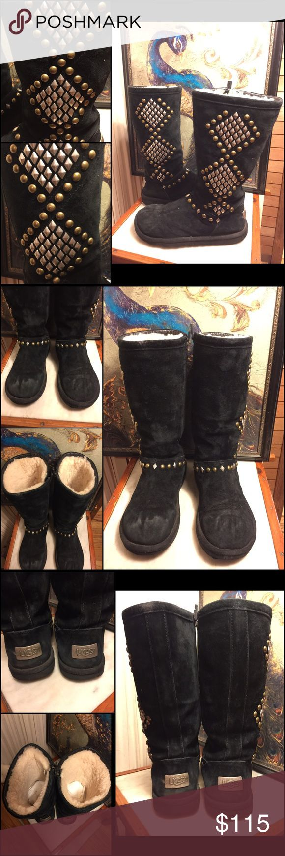 """SZ 6-UGG AVONDALE BLACK STUDDED SUEDE TALL BOOTS CHIC UGG AVONDALE BOOTS. CLASSIC BLACK SUEDE/SHEEPSKIN BOOTS WITH BRASS/SILVER STUDS. ZIPPER IN INTERIOR. TALL 12"""" BOOTS. 1"""" RUBBER BOTTOM. Calf opening 14.33"""". UNIQUE/DRESSIER UP-WITH ALL THE COMFORTS OF THE CLASSIC UGG. RETAIL $285. GREAT PRE-OWNED CONDITION! THE ONLY WEAR IS SOME SUEDE RUBBING AT TOE AREA OF BOTH BOOTS. SZ 6 MEDIUM WIDTH. PLEASE DO NOT HESITATE TO ASK ANY QUESTIONS! #uggaustralia #blacksuededleather #blacksheepskin…"""
