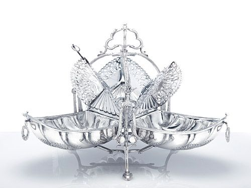 Antique silver candelabra, silver candelsticks, Victorian silver serveware, silver centerpieces and more at Antique Silver Store