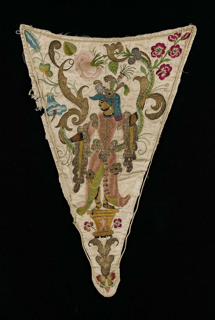 Late 17th century, Europe - Stomacher - Silk, Linen, Metal, Satin / Embroidery
