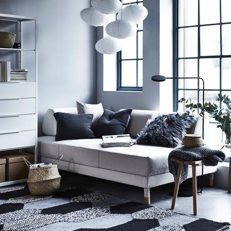 """IKEA FRANCE (@ikeafrance) su Instagram: """"Ce dimanche on pique une tête... dans son canapé. SOLLEFTEÅ suspension 5€ / FLÅDIS panier 9.99€ /…"""""""