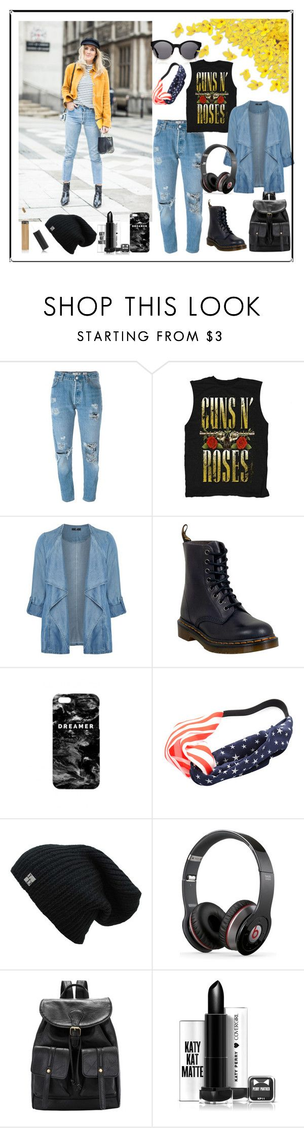 """""""Sport and Fashion"""" by explorer-14673103603 ❤ liked on Polyvore featuring Levi's, Kerr®, Evans, Dr. Martens, Mr. Gugu & Miss Go, Chicnova Fashion, Beats by Dr. Dre, denimjackets, WardrobeStaples and plus size clothing"""