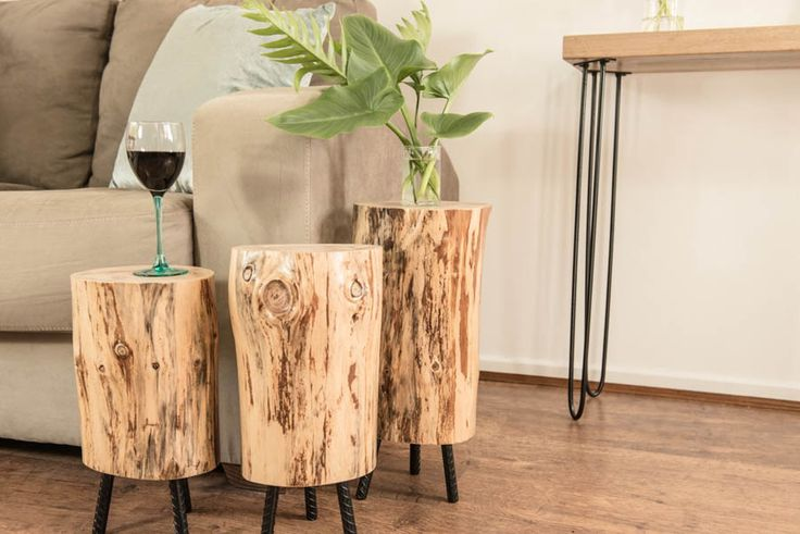 upcycled stump side tables from little acts of kindness Australia