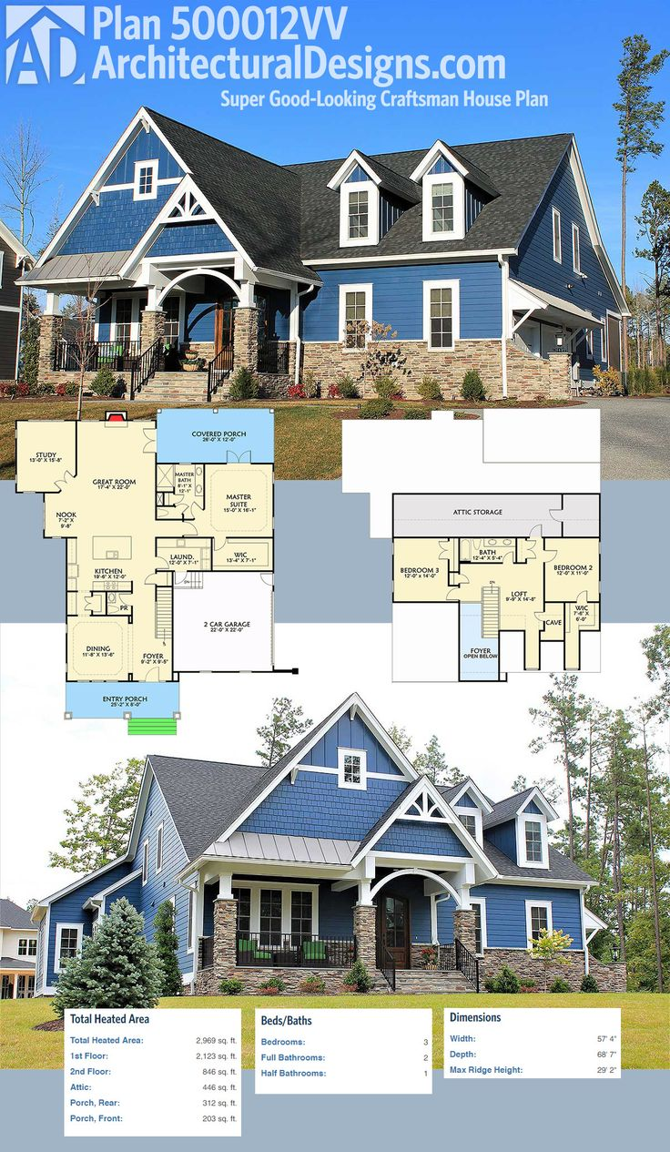Architectural Designs Super Good-Looking Craftsman House Plan 500012VV gives you 3 beds, 2.5 baths, a side-load garage and over 2,900 square feet of heated living space. Ready when you are. Where do YOU want to build?