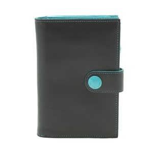 Gabs - 'GMONEY4' wallet in Black with contrasting seams and button detail. Genuine leather. Made in Italy.