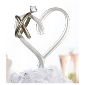 NUNTA :: ACCESORII NUNTA :: Figurine tort nunta :: FIGURINA TORT INIMA CU VERIGHETE. COD CT551
