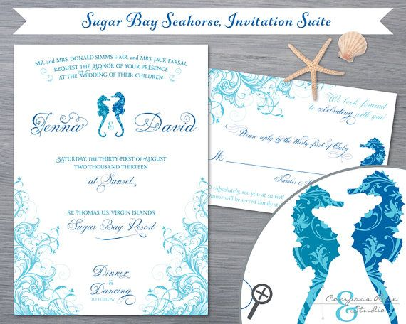 Seahorse Wedding Invitation Suite Sugar Bay  by CompassRoseStudio, $3.25