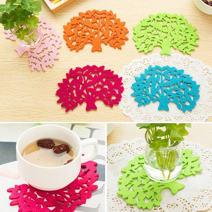 New Colorful Tree Shape Felt Coaster Cup Mat Bowl Insulation Pad Home Supplies | eBay