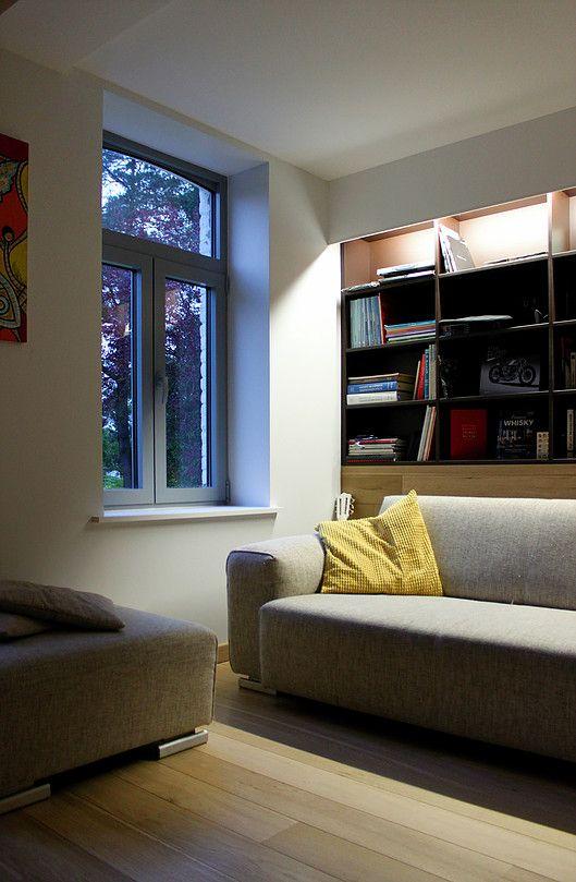 Salon bibliothèque, salon musique, salon télé, bibliothèque sur mesure. Ronan Cooreman Architecte d'intérieur Lille, Nord pas de calais