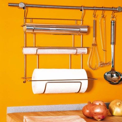 I do like this idea for foil and parchment paper. 31 Practical Kitchen Rail Storage Ideas via Shelterness