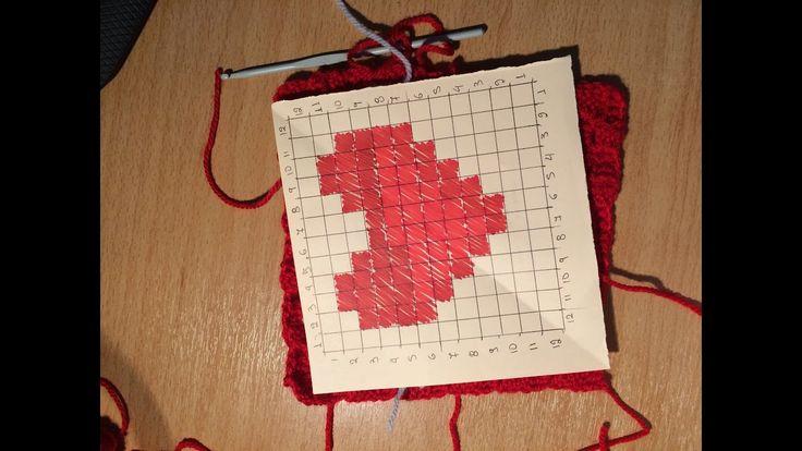 Πλέξη γώνια σε γώνια γράφημα καρδίας. - crochet c2c graph heart