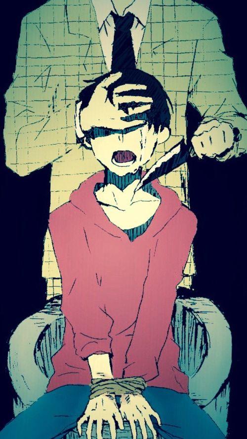 Anime. Anime Guy. Anime Boy. Black Hair. Knife. Blood. Gore. Guro.