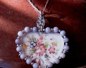 Vintage Broken China Ceramic Shard Necklace, Sterling Silver, Beads, Pretty Floral Heart