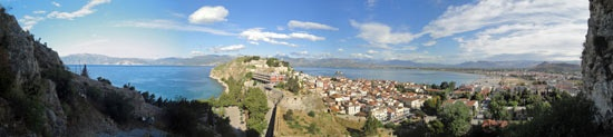 Ascent to Palamidi Fortress in Nafplio. Panorama from step 235.
