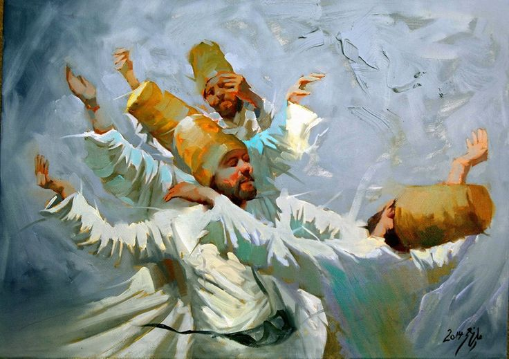 Beautiful painting by Iraqi artist ALI NEMAH ,that shows the whirling dervishes, the followers of Mevlânâ Jalāl ad-Dīn Rūmī. (poet, jurist, Islamic scholar, theologian, and Sufi mystic)