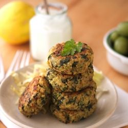 Greek Style Quinoa Patties with Tzatziki Sauce - Delicious and healthy