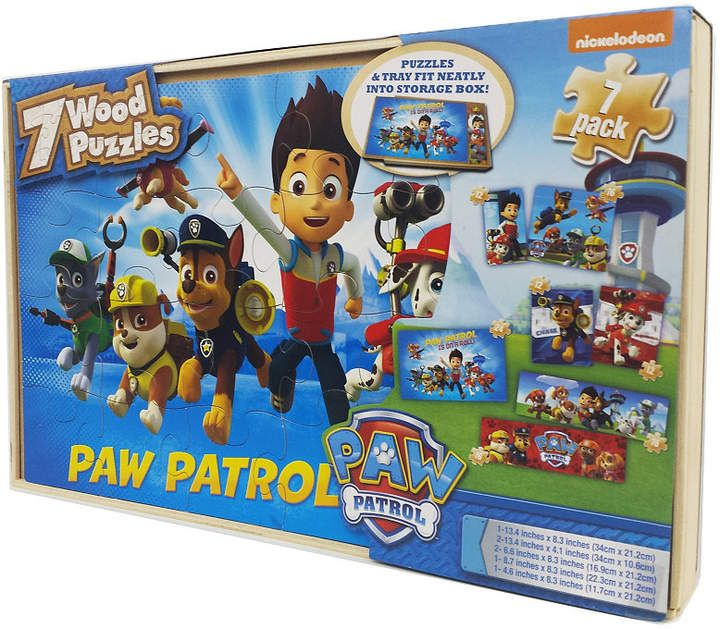 styles will vary Paw Patrol 7 Wood Puzzles In Wooden Storage Box