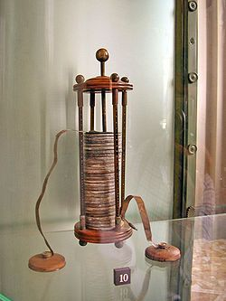 chemistry of voltaic pile | voltaic pile on display in the Tempio Voltiano (the Volta Temple ...