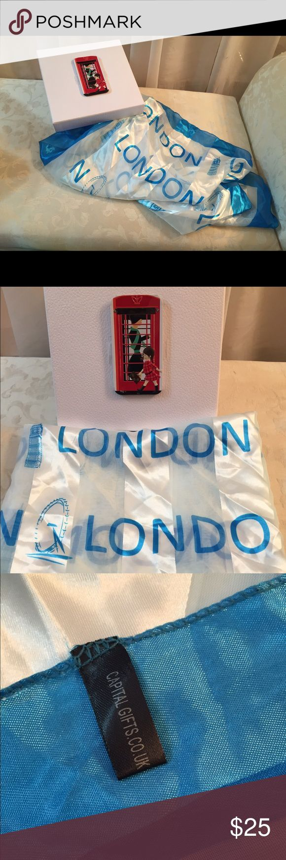 London Long Scarf Light Blue and white scarf, bought in London, very good condition. Dimensions: 38 X 38 approx. London Accessories Scarves & Wraps