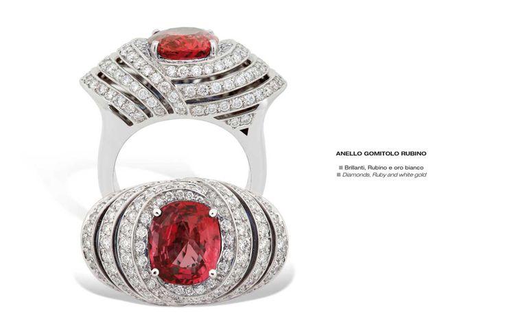 Anello Gomitolo Rubino - Diamonds, Ruby and white gold - Brillanti, Rubino e oro bianco #jewelry #gioielli #luxury #madeinitaly #classic
