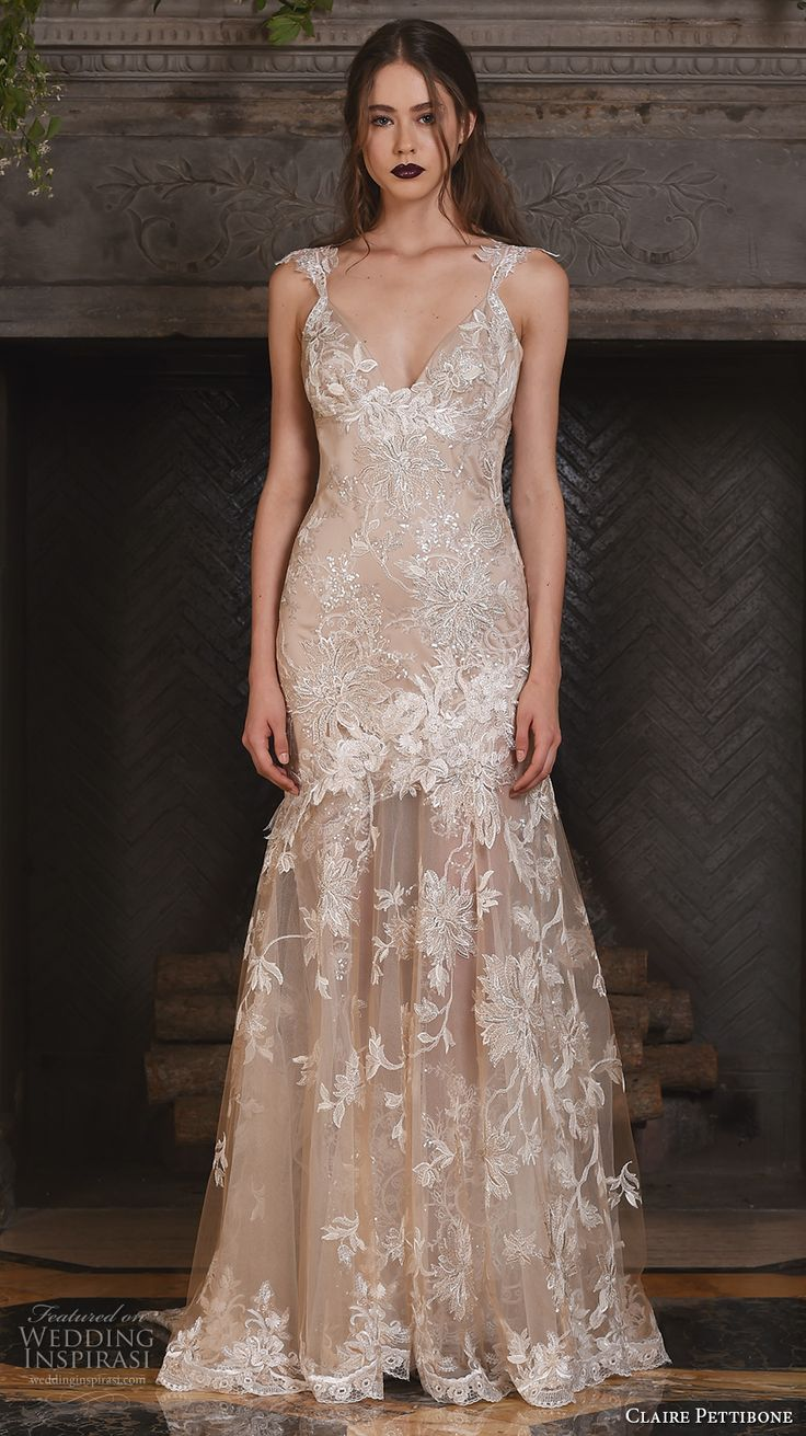 claire pettibone fall 2017 bridal sleeveless strap v neck full embellishment beautiful ivory color fit and flare mermaid wedding dress illusion lace back sweep train (noel) mv