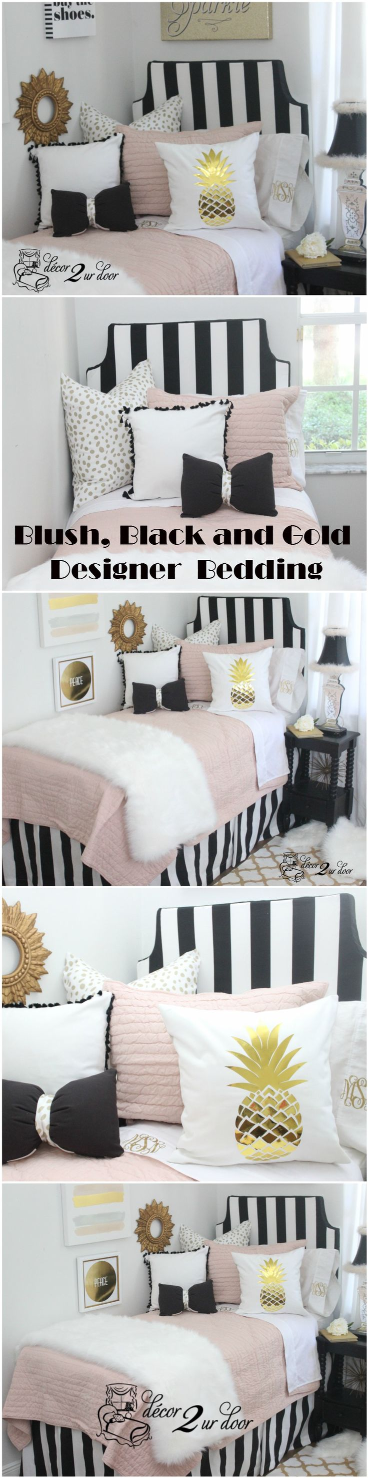Black and white bed sheets designs - Pink And Black Dorm Room Bedding Sets Fun Fringe And Fur This