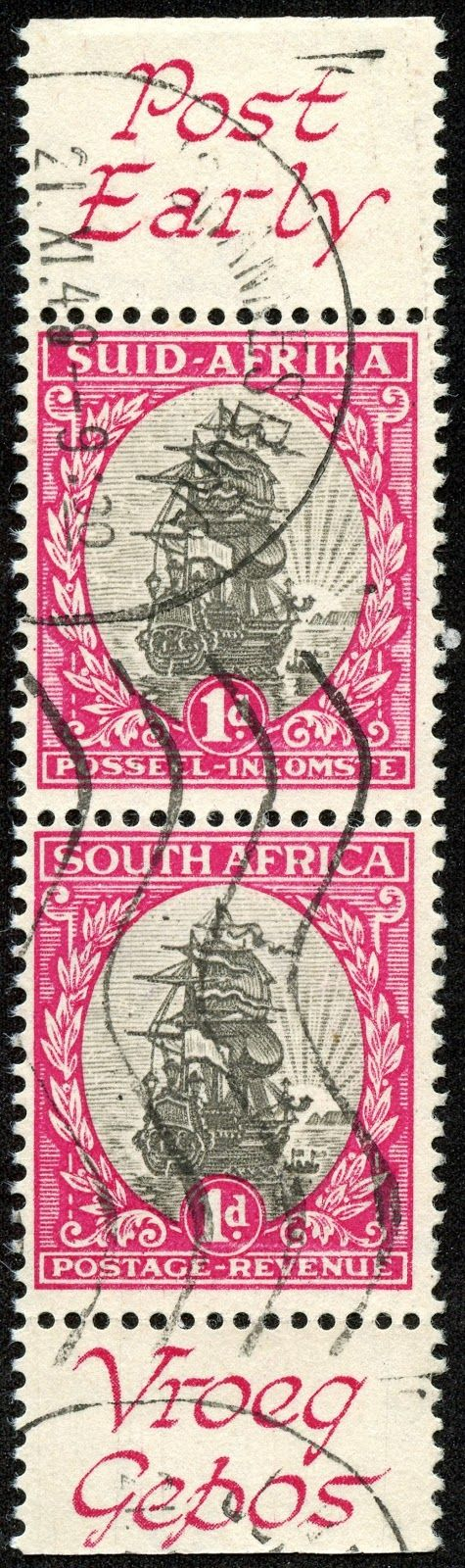 "Union of South Africa Scott 49 (SG 56h) 1d rose carmine & gray, pair ""Jan van Riebeek's Ship Drommedaris"" From 1948 booklet pane, postal slogans on margin"