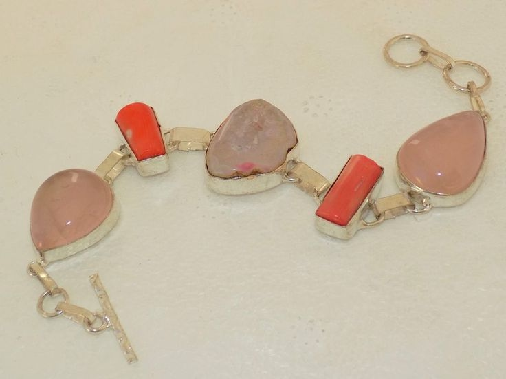 VALENTINE ROMANTIC ROSE QUARTZ+SLICE DRUZY 925 STERLING SILVER OVERLAY BRACELET #HANDMADE